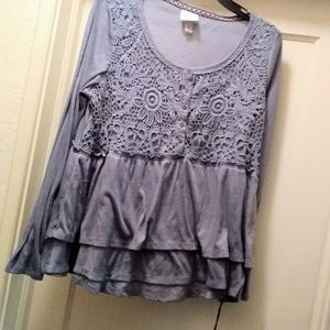 Nwt XL Knox Rose blue ruffle lace accent top